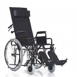 Инвалидная кресло-коляска с высокой спинкой (жесткая) и мягкими подножками Ortonica Base 155