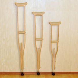 Костыли подмышечные деревянные с УПС 02-КИ (взрослые) с мягкими ручками